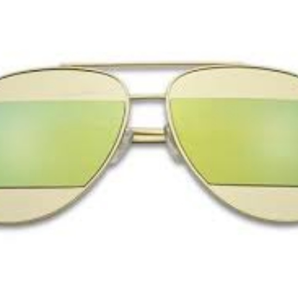 Kiss Other - CUT-OUT MIRRORED AVIATOR SUNGLASSES GREEN NEW
